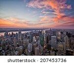 new york sunset skyline taken... | Shutterstock . vector #207453736