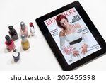 fake fashion magazine cover on... | Shutterstock . vector #207455398