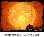 horizontal halloween night... | Shutterstock .eps vector #207463135