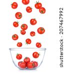 cherry tomatoes falling into... | Shutterstock . vector #207467992