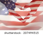 American Flag On Heart Shaped...