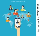flat social media and network...   Shutterstock .eps vector #207498712