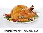 roasted turkey on tray... | Shutterstock . vector #207502165