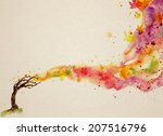 watercolor background with...   Shutterstock . vector #207516796