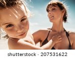 dancing family beach with... | Shutterstock . vector #207531622