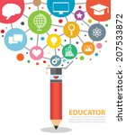 open creative pencil with icons ... | Shutterstock .eps vector #207533872