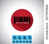 flat design icon of barcode...