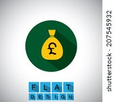 flat design icon of cash bag ...