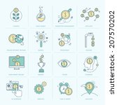 set of flat line icons for... | Shutterstock .eps vector #207570202