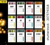 2015 european year calendar | Shutterstock . vector #207574318