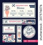 bon appetit restaurant set menu ... | Shutterstock .eps vector #207576076