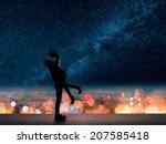 silhouette of asian couple  man ... | Shutterstock . vector #207585418