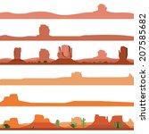 Set Of America Desert Landscape
