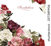 bouquet of peonies  watercolor  ... | Shutterstock . vector #207589906