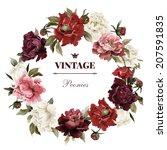 wreath of peonies  watercolor ... | Shutterstock . vector #207591835