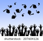 graduation hats high  | Shutterstock . vector #207604126