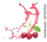 photo of cherry with leaf and... | Shutterstock . vector #207624322