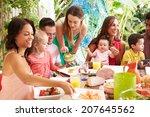 group of families enjoying... | Shutterstock . vector #207645562