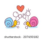 snails in love cartoon... | Shutterstock .eps vector #207650182
