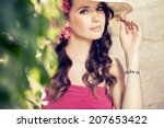 beautiful woman enjoying in the ... | Shutterstock . vector #207653422