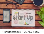 Small photo of Notebook with text inside Start Up on table with coffee, mobile phone and glasses.