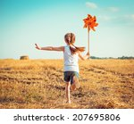 cute little girl in summer day... | Shutterstock . vector #207695806