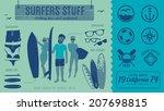 surfers stuff   vintage labels  ...   Shutterstock .eps vector #207698815