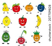 happy fruits set | Shutterstock .eps vector #207709828