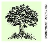 vector isolated black tree on...   Shutterstock .eps vector #207712402