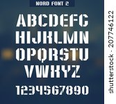 stencil plate sanserif font and ... | Shutterstock .eps vector #207746122
