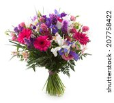 Pink, purple and white flowers bouquet.