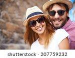 happy girl and her boyfriend in ... | Shutterstock . vector #207759232