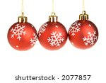 three red christmas balls in a... | Shutterstock . vector #2077857