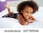 Cute Little Girl Lying On Tumm...