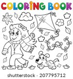 coloring book with girl and... | Shutterstock .eps vector #207795712