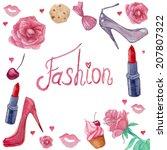 watercolor vintage fashion...   Shutterstock .eps vector #207807322