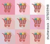 shopping cart flat icons design ...   Shutterstock .eps vector #207835948