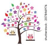 vector floral tree with owl...