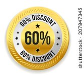 gold round sixty percent... | Shutterstock .eps vector #207847345