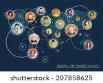 social network concept. flat... | Shutterstock .eps vector #207858625
