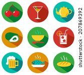 set of food and drinks icons.... | Shutterstock .eps vector #207869392
