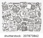 doodle media background | Shutterstock .eps vector #207873862