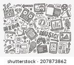 doodle media background | Shutterstock .eps vector #207873862