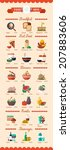colorful food and drinks icons  ... | Shutterstock .eps vector #207883606