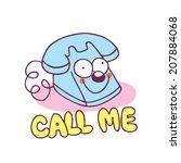 call me telephone cartoon... | Shutterstock .eps vector #207884068