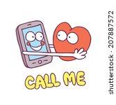 call me mobile phone heart... | Shutterstock .eps vector #207887572