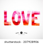 watercolor red painted word.... | Shutterstock .eps vector #207928906