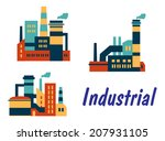 Three Flat Industrial Icons...