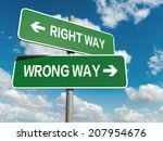 a road sign with right way... | Shutterstock . vector #207954676