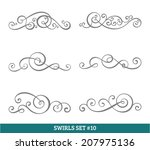 set of six vector flourish... | Shutterstock .eps vector #207975136